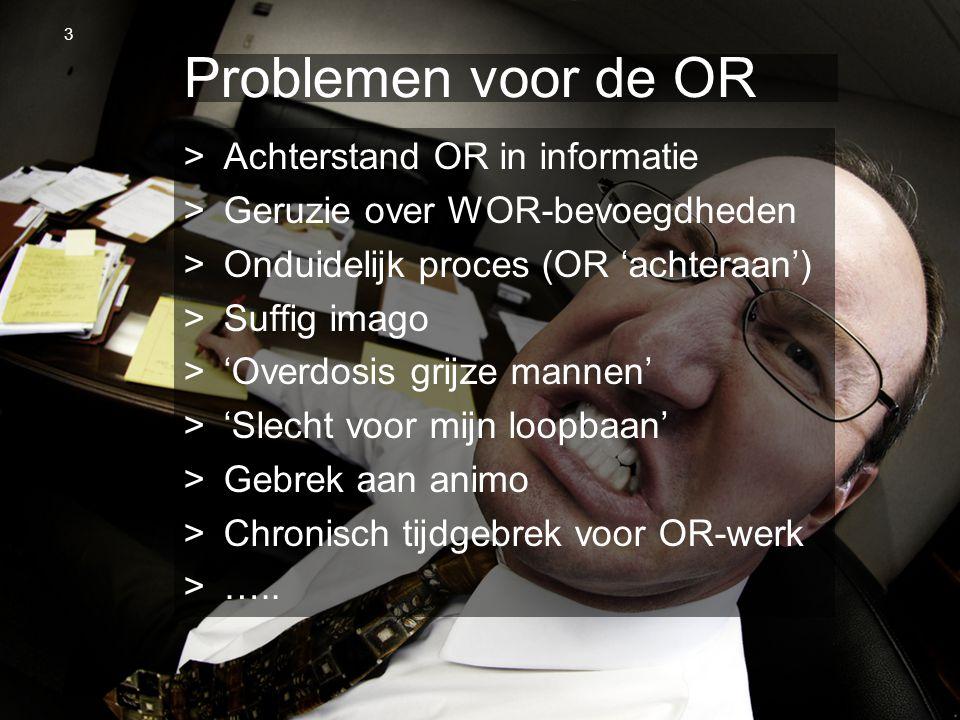 OR Spring Steven van Slageren 10 april 2013 Problemen voor de OR >Achterstand OR in informatie >Geruzie over WOR-bevoegdheden >Onduidelijk proces (OR
