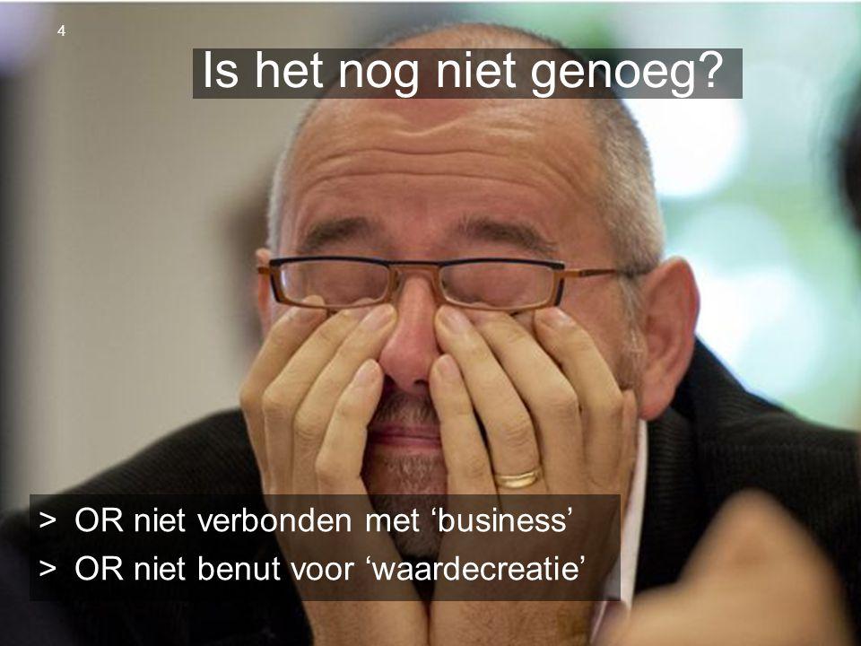 OR Spring Steven van Slageren 10 april 2013 Is het nog niet genoeg? >OR niet verbonden met 'business' >OR niet benut voor 'waardecreatie' 4