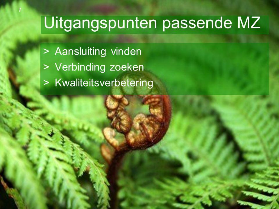 OR Spring Steven van Slageren 10 april 2013 Uitgangspunten passende MZ >Aansluiting vinden >Verbinding zoeken >Kwaliteitsverbetering 7