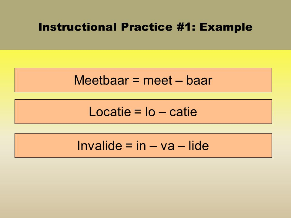 Instructional Practice #1: Example Meetbaar = meet – baar Locatie = lo – catie Invalide = in – va – lide
