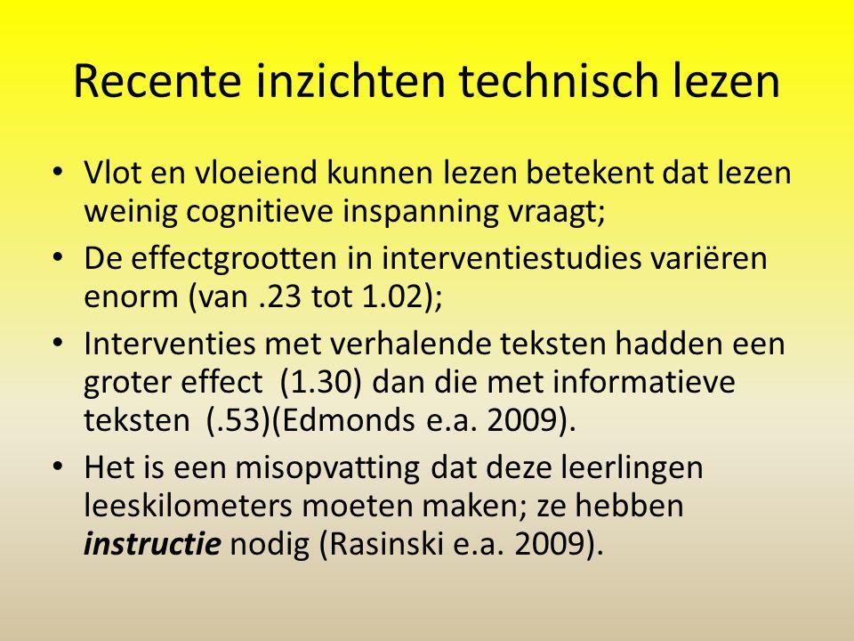 Recente inzichten technisch lezen • Vlot en vloeiend kunnen lezen betekent dat lezen weinig cognitieve inspanning vraagt; • De effectgrootten in inter
