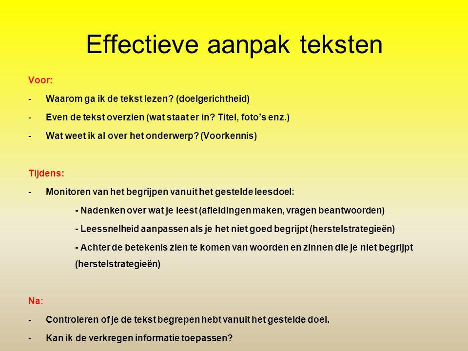 Effectieve aanpak teksten Voor: -Waarom ga ik de tekst lezen? (doelgerichtheid) -Even de tekst overzien (wat staat er in? Titel, foto's enz.) -Wat wee