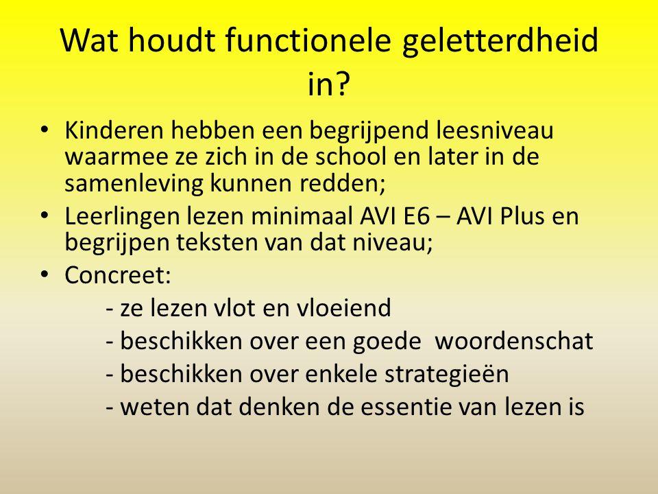 Wat houdt functionele geletterdheid in? • Kinderen hebben een begrijpend leesniveau waarmee ze zich in de school en later in de samenleving kunnen red