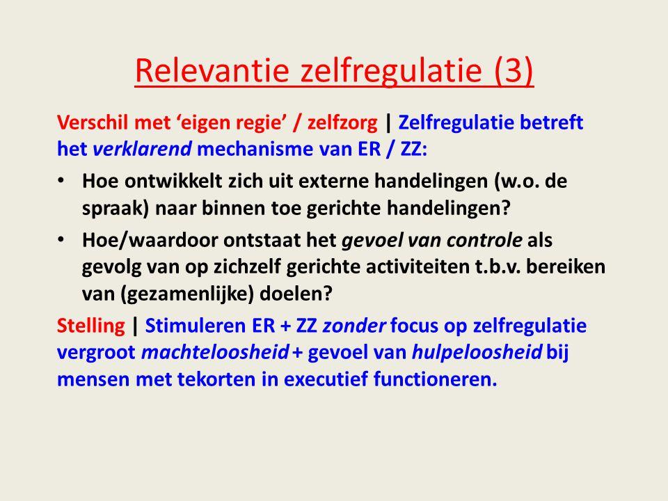 Relevantie zelfregulatie (3) Verschil met 'eigen regie' / zelfzorg | Zelfregulatie betreft het verklarend mechanisme van ER / ZZ: • Hoe ontwikkelt zich uit externe handelingen (w.o.