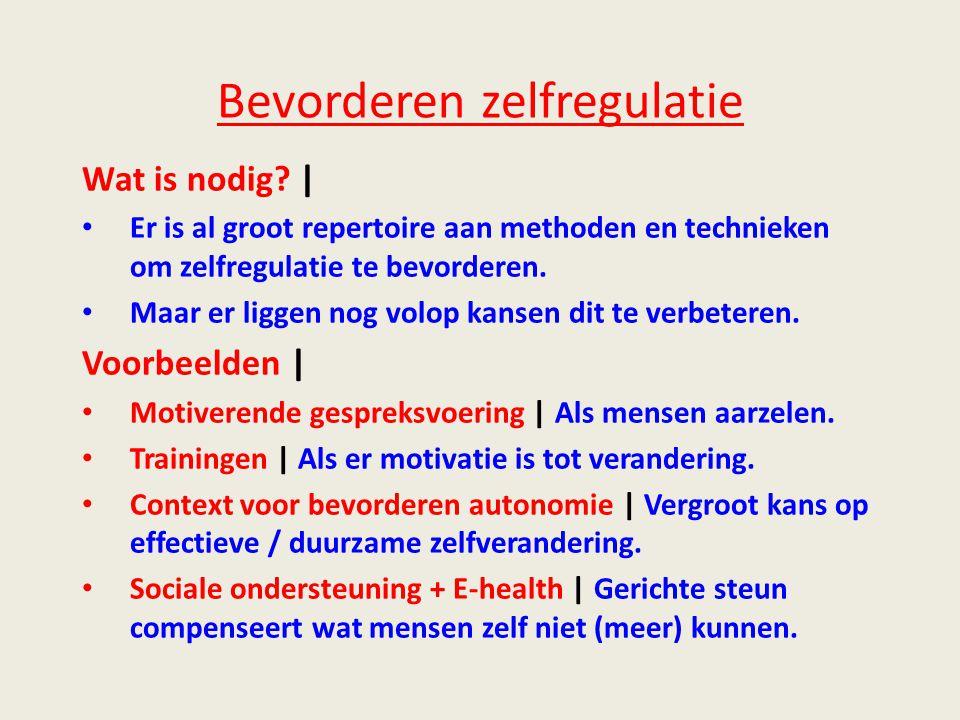 Bevorderen zelfregulatie Wat is nodig.