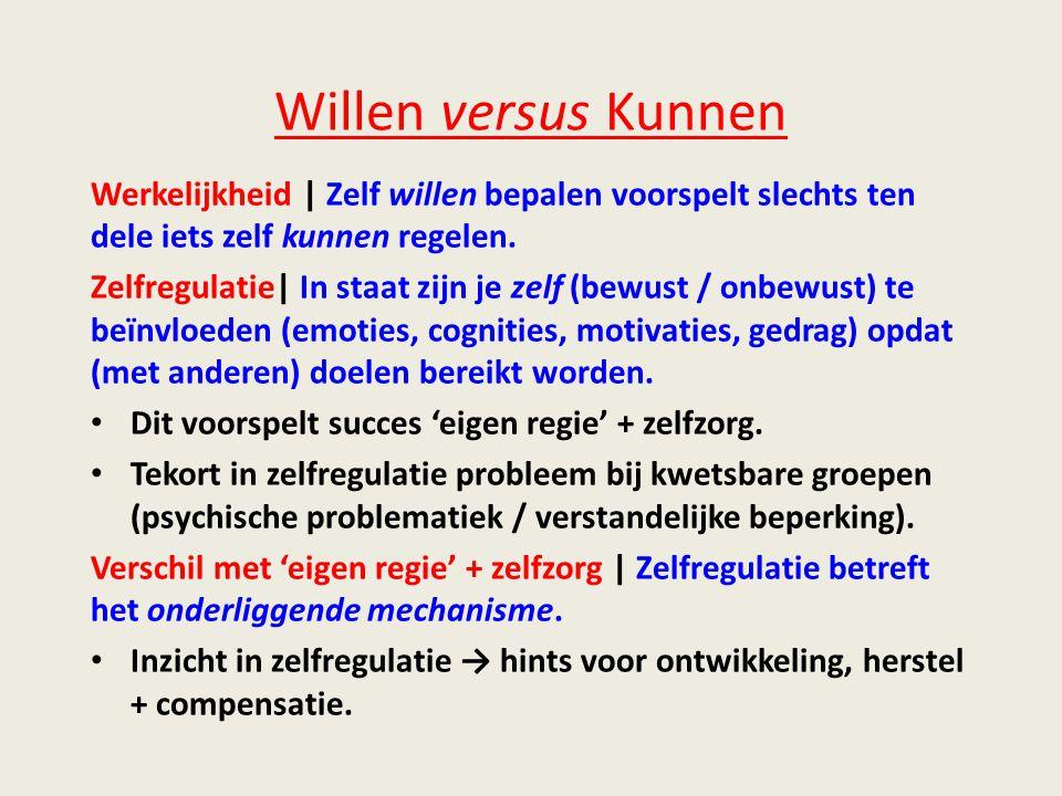 Willen versus Kunnen Werkelijkheid | Zelf willen bepalen voorspelt slechts ten dele iets zelf kunnen regelen.
