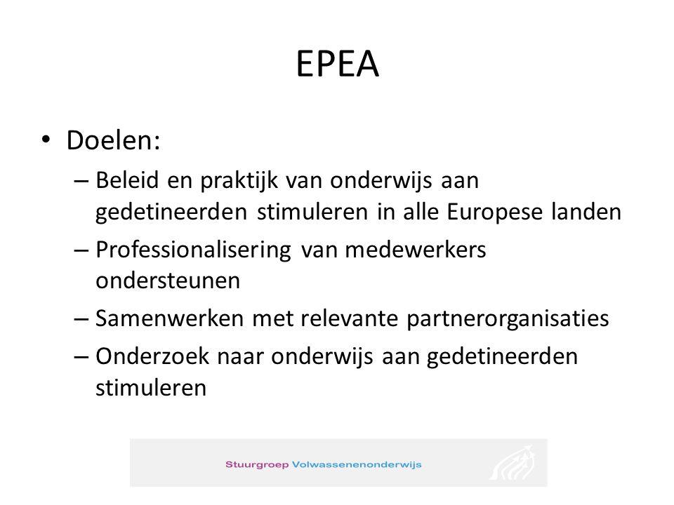 EPEA • Doelen: – Beleid en praktijk van onderwijs aan gedetineerden stimuleren in alle Europese landen – Professionalisering van medewerkers ondersteunen – Samenwerken met relevante partnerorganisaties – Onderzoek naar onderwijs aan gedetineerden stimuleren