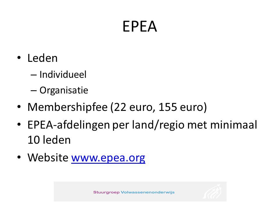 EPEA • Leden – Individueel – Organisatie • Membershipfee (22 euro, 155 euro) • EPEA-afdelingen per land/regio met minimaal 10 leden • Website www.epea.orgwww.epea.org