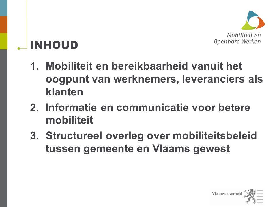 INHOUD 1.Mobiliteit en bereikbaarheid vanuit het oogpunt van werknemers, leveranciers als klanten 2.Informatie en communicatie voor betere mobiliteit 3.Structureel overleg over mobiliteitsbeleid tussen gemeente en Vlaams gewest