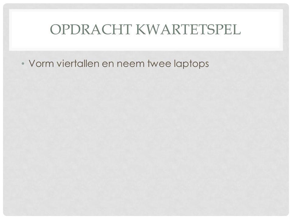OPDRACHT KWARTETSPEL • Vorm viertallen en neem twee laptops