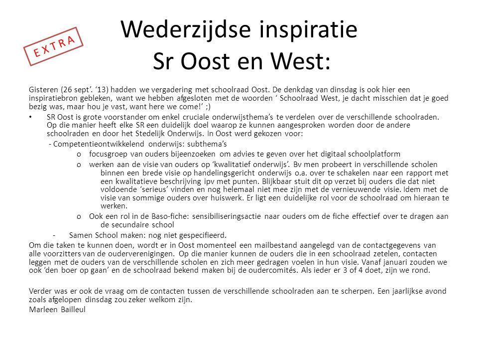 Wederzijdse inspiratie Sr Oost en West: Gisteren (26 sept'. '13) hadden we vergadering met schoolraad Oost. De denkdag van dinsdag is ook hier een ins