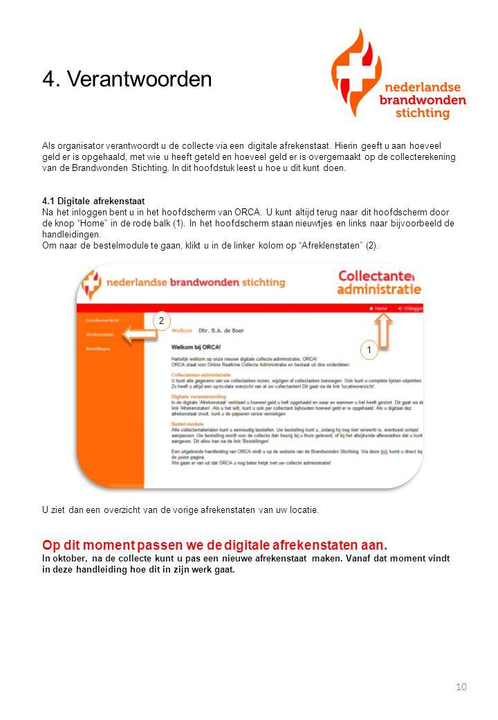 4. Verantwoorden Als organisator verantwoordt u de collecte via een digitale afrekenstaat. Hierin geeft u aan hoeveel geld er is opgehaald, met wie u