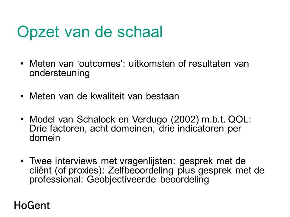 Opzet van de schaal •Meten van 'outcomes': uitkomsten of resultaten van ondersteuning •Meten van de kwaliteit van bestaan •Model van Schalock en Verdugo (2002) m.b.t.