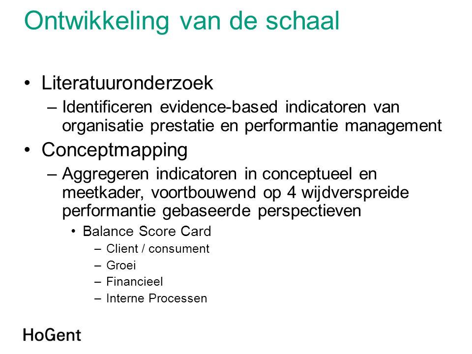 Ontwikkeling van de schaal •Literatuuronderzoek –Identificeren evidence-based indicatoren van organisatie prestatie en performantie management •Concep