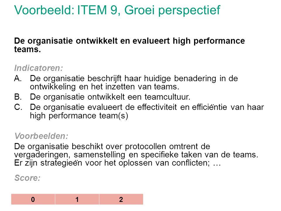 Voorbeeld: ITEM 9, Groei perspectief De organisatie ontwikkelt en evalueert high performance teams. Indicatoren: A.De organisatie beschrijft haar huid