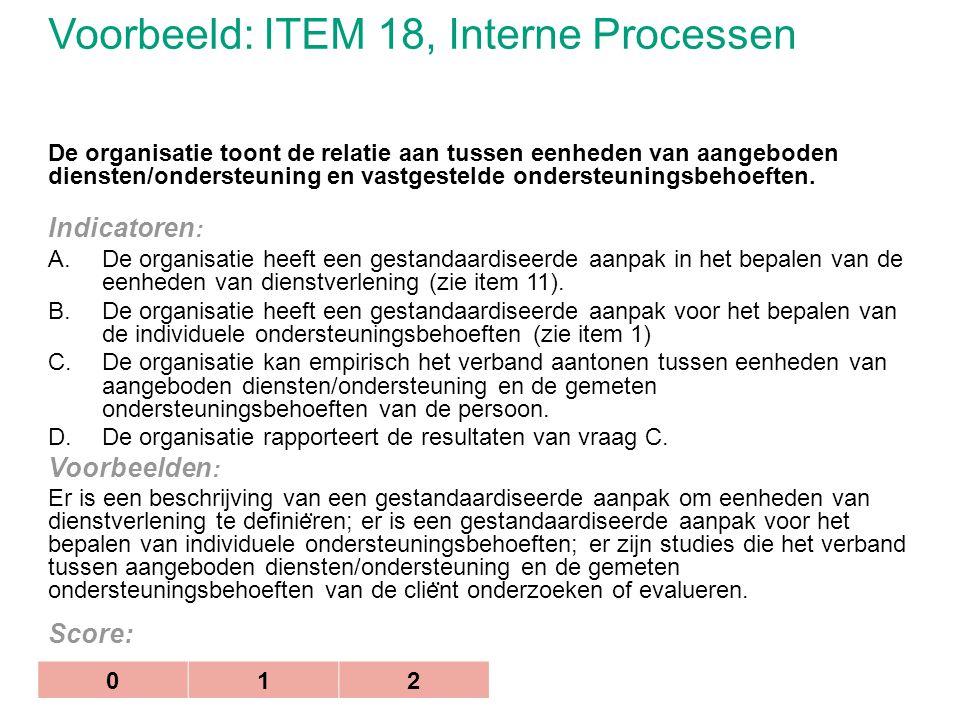 Voorbeeld: ITEM 18, Interne Processen De organisatie toont de relatie aan tussen eenheden van aangeboden diensten/ondersteuning en vastgestelde onders