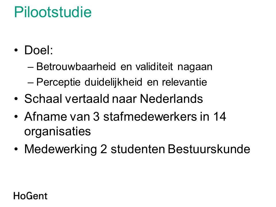 Pilootstudie •Doel: –Betrouwbaarheid en validiteit nagaan –Perceptie duidelijkheid en relevantie •Schaal vertaald naar Nederlands •Afname van 3 stafme