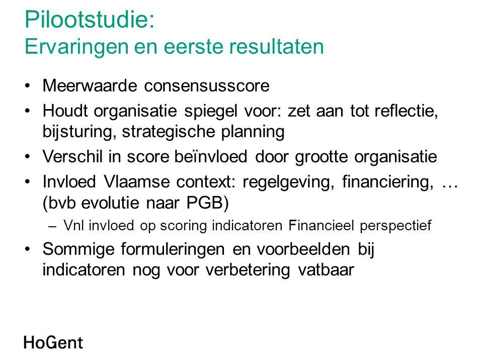 Pilootstudie: Ervaringen en eerste resultaten •Meerwaarde consensusscore •Houdt organisatie spiegel voor: zet aan tot reflectie, bijsturing, strategis