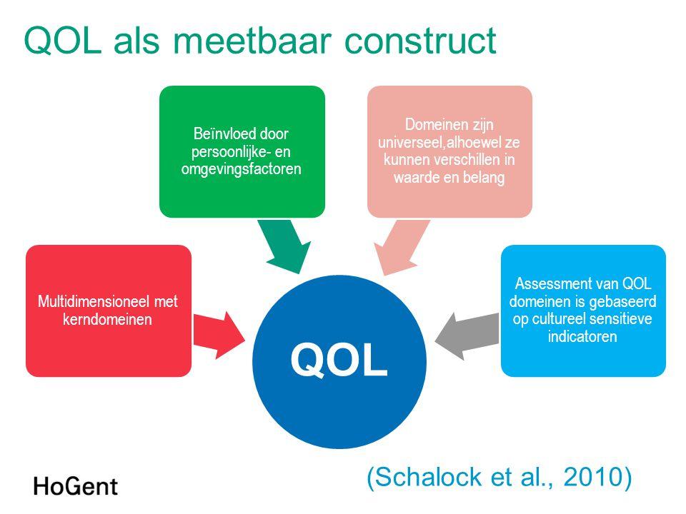 QOL Multidimensioneel met kerndomeinen Beïnvloed door persoonlijke- en omgevingsfactoren Domeinen zijn universeel,alhoewel ze kunnen verschillen in waarde en belang Assessment van QOL domeinen is gebaseerd op cultureel sensitieve indicatoren QOL als meetbaar construct (Schalock et al., 2010)
