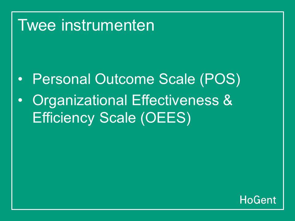 Twee instrumenten •Personal Outcome Scale (POS) •Organizational Effectiveness & Efficiency Scale (OEES)