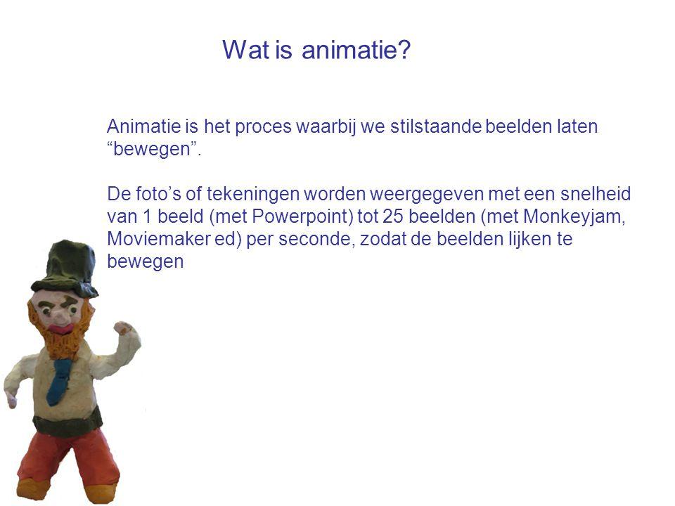 """Animatie is het proces waarbij we stilstaande beelden laten """"bewegen"""". De foto's of tekeningen worden weergegeven met een snelheid van 1 beeld (met Po"""