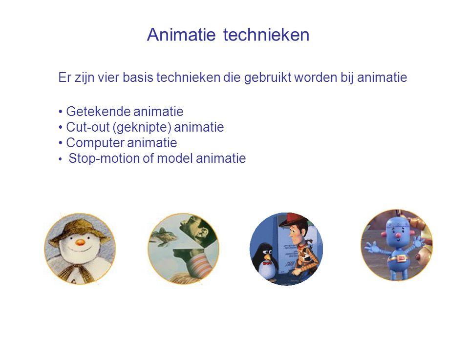 Er zijn vier basis technieken die gebruikt worden bij animatie • Getekende animatie • Cut-out (geknipte) animatie • Computer animatie • Stop-motion of