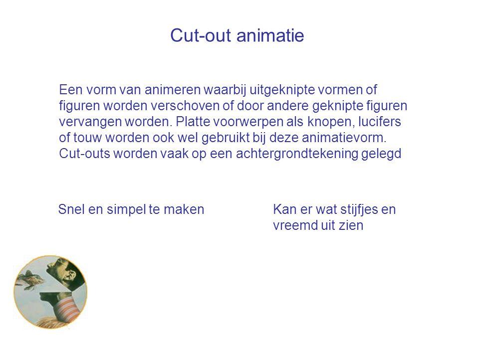 Cut-out animatie Een vorm van animeren waarbij uitgeknipte vormen of figuren worden verschoven of door andere geknipte figuren vervangen worden. Platt