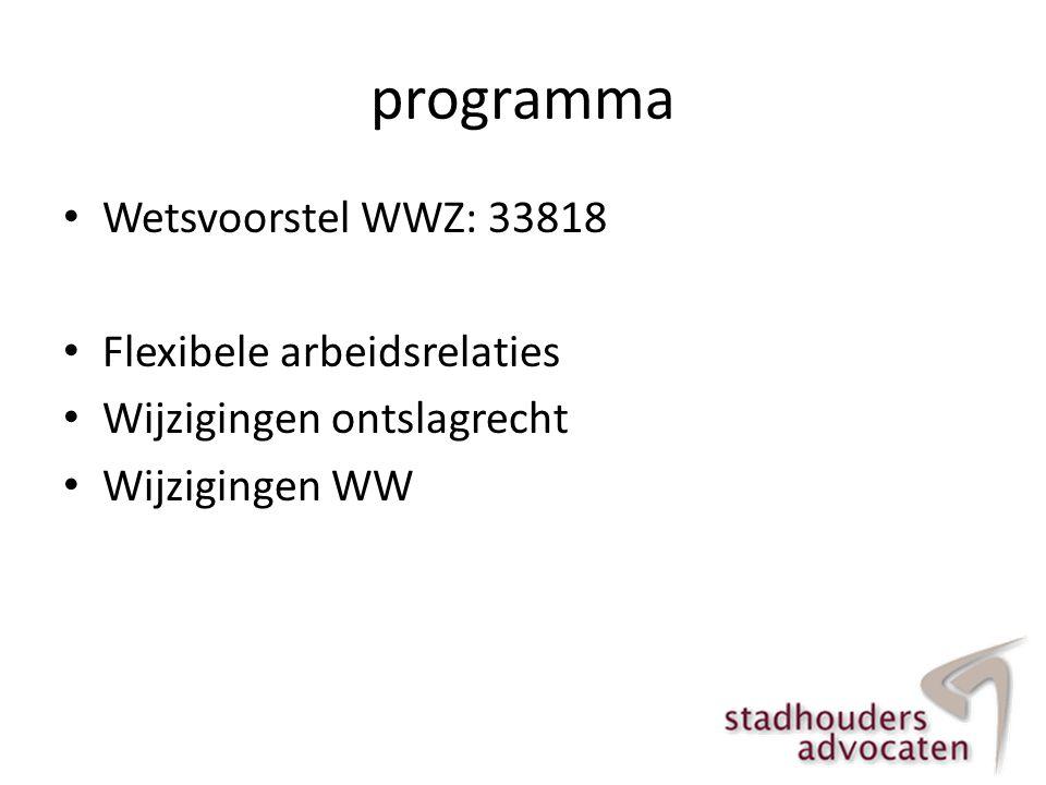 programma • Wetsvoorstel WWZ: 33818 • Flexibele arbeidsrelaties • Wijzigingen ontslagrecht • Wijzigingen WW