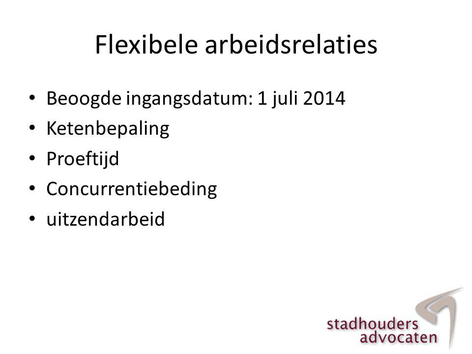 Flexibele arbeidsrelaties • Beoogde ingangsdatum: 1 juli 2014 • Ketenbepaling • Proeftijd • Concurrentiebeding • uitzendarbeid