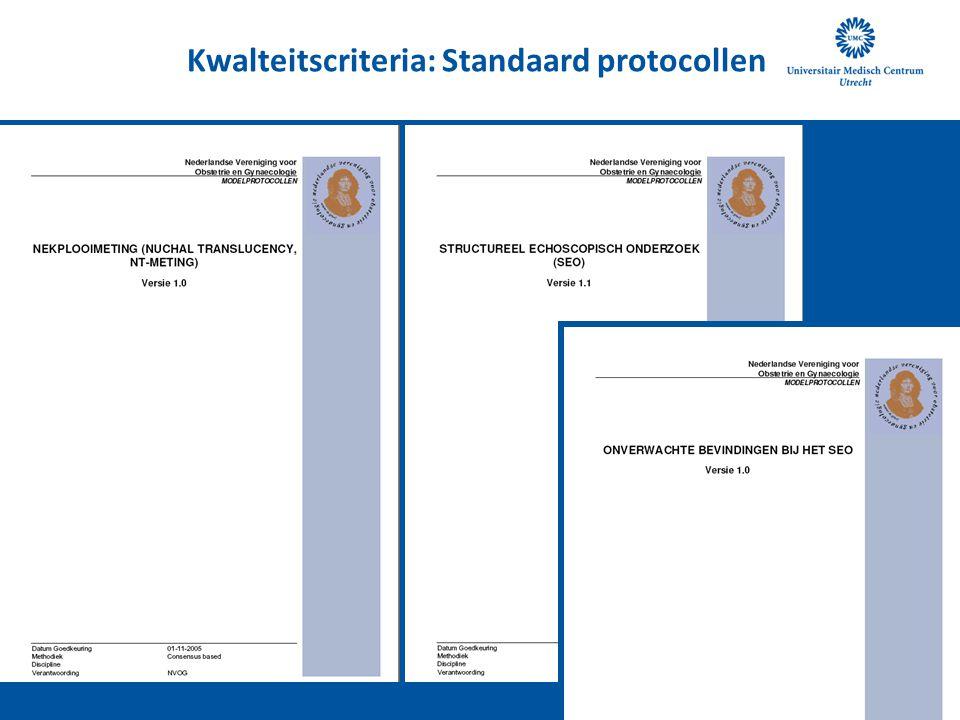 Kwalteitscriteria: Standaard protocollen