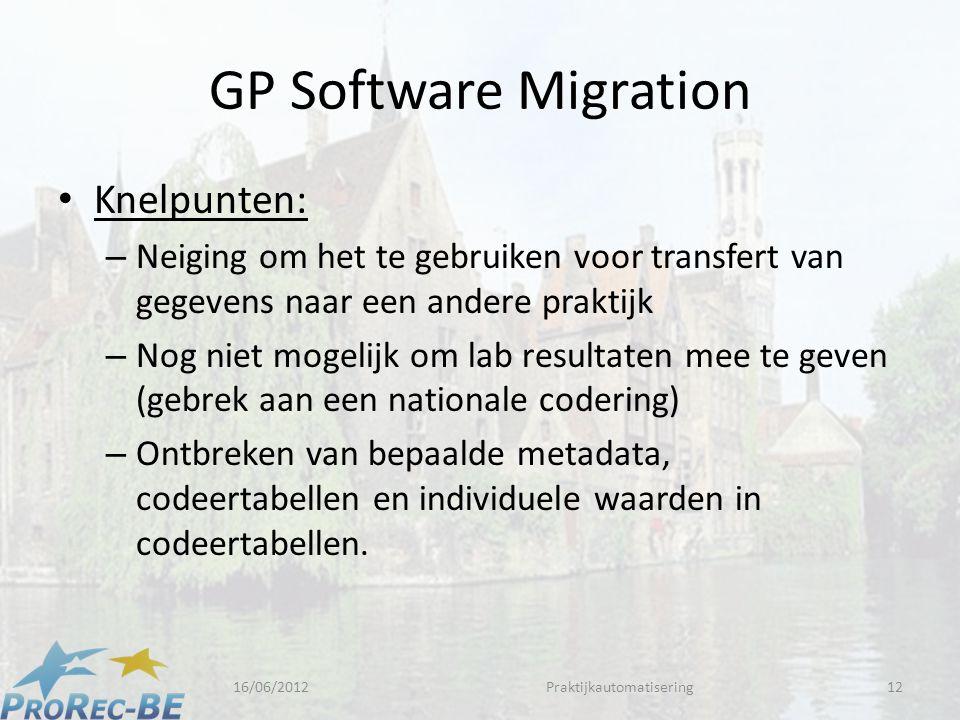 GP Software Migration • Knelpunten: – Neiging om het te gebruiken voor transfert van gegevens naar een andere praktijk – Nog niet mogelijk om lab resultaten mee te geven (gebrek aan een nationale codering) – Ontbreken van bepaalde metadata, codeertabellen en individuele waarden in codeertabellen.