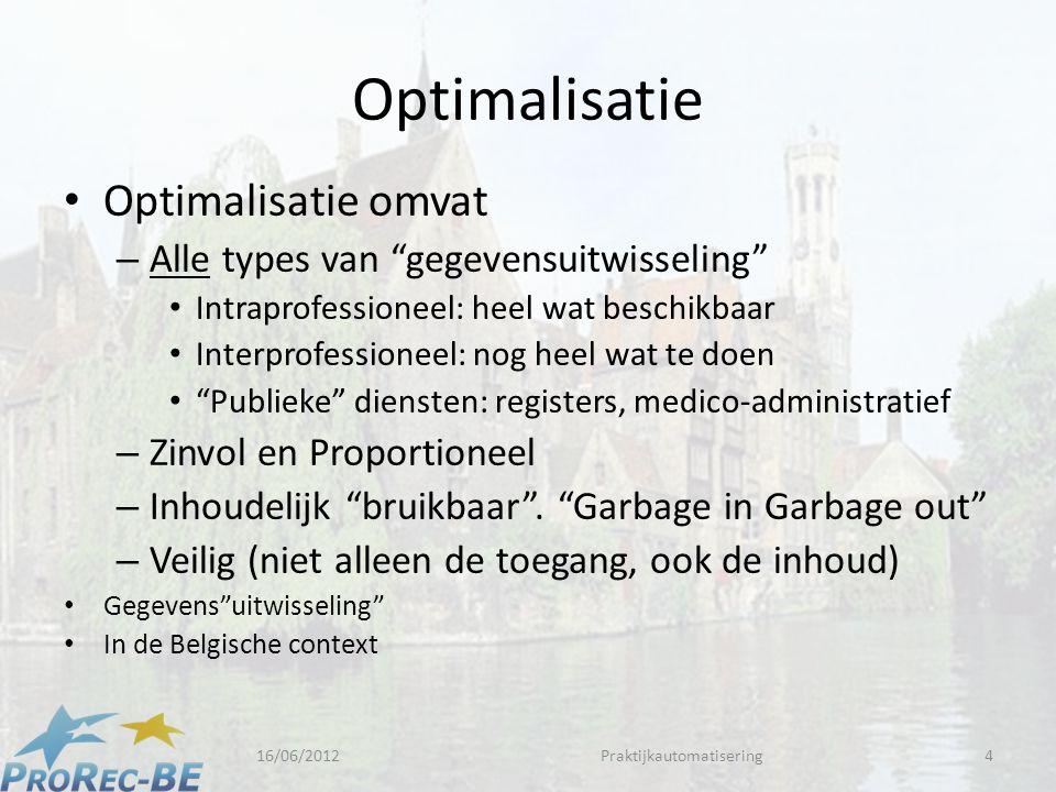 Optimalisatie • Optimalisatie omvat – Alle types van gegevensuitwisseling • Intraprofessioneel: heel wat beschikbaar • Interprofessioneel: nog heel wat te doen • Publieke diensten: registers, medico-administratief – Zinvol en Proportioneel – Inhoudelijk bruikbaar .