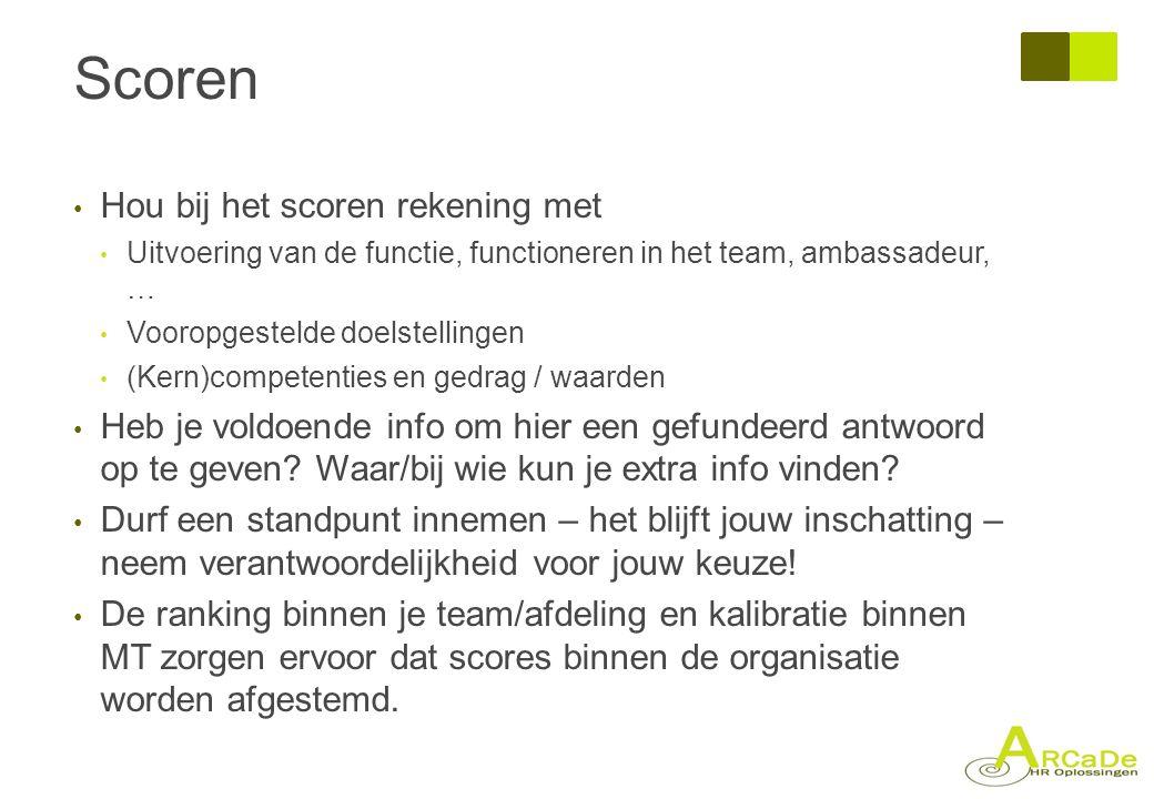 Scoren • Hou bij het scoren rekening met • Uitvoering van de functie, functioneren in het team, ambassadeur, … • Vooropgestelde doelstellingen • (Kern
