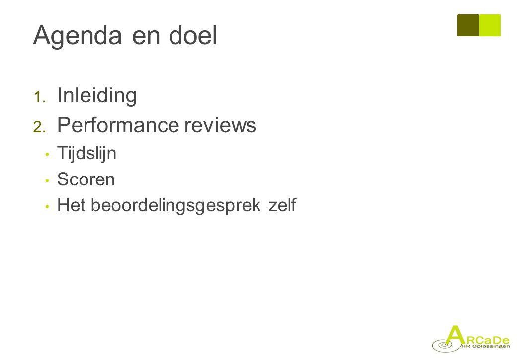 Agenda en doel 1. Inleiding 2. Performance reviews • Tijdslijn • Scoren • Het beoordelingsgesprek zelf