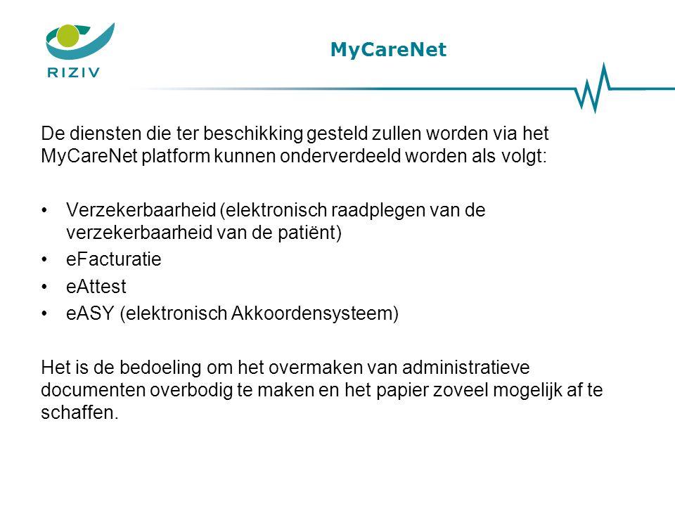 MyCareNet De diensten die ter beschikking gesteld zullen worden via het MyCareNet platform kunnen onderverdeeld worden als volgt: •Verzekerbaarheid (e