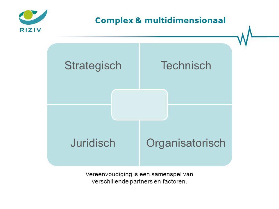 Complex & multidimensionaal StrategischTechnisch JuridischOrganisatorisch Vereenvoudiging is een samenspel van verschillende partners en factoren.