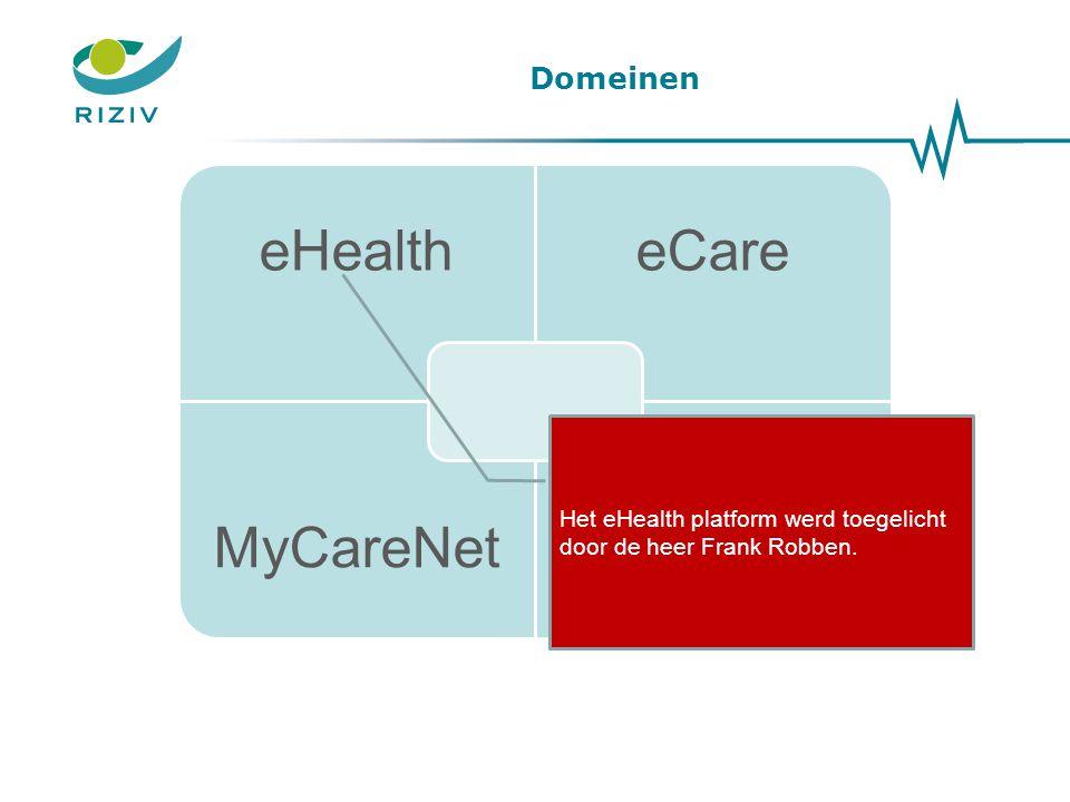 Domeinen eHealtheCare MyCareNetMyRIZIV Het eHealth platform werd toegelicht door de heer Frank Robben.