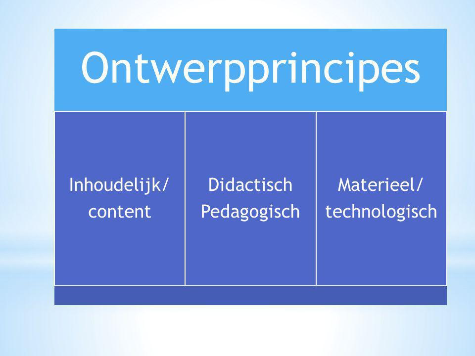 Ontwerpprincipes Inhoudelijk/ content Didactisch Pedagogisch Materieel/ technologisch