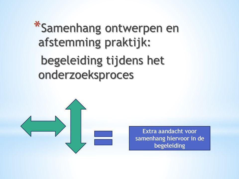 * Samenhang ontwerpen en afstemming praktijk: begeleiding tijdens het onderzoeksproces begeleiding tijdens het onderzoeksproces Extra aandacht voor sa