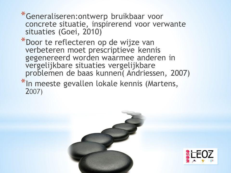 * Generaliseren:ontwerp bruikbaar voor concrete situatie, inspirerend voor verwante situaties (Goei, 2010) * Door te reflecteren op de wijze van verbe