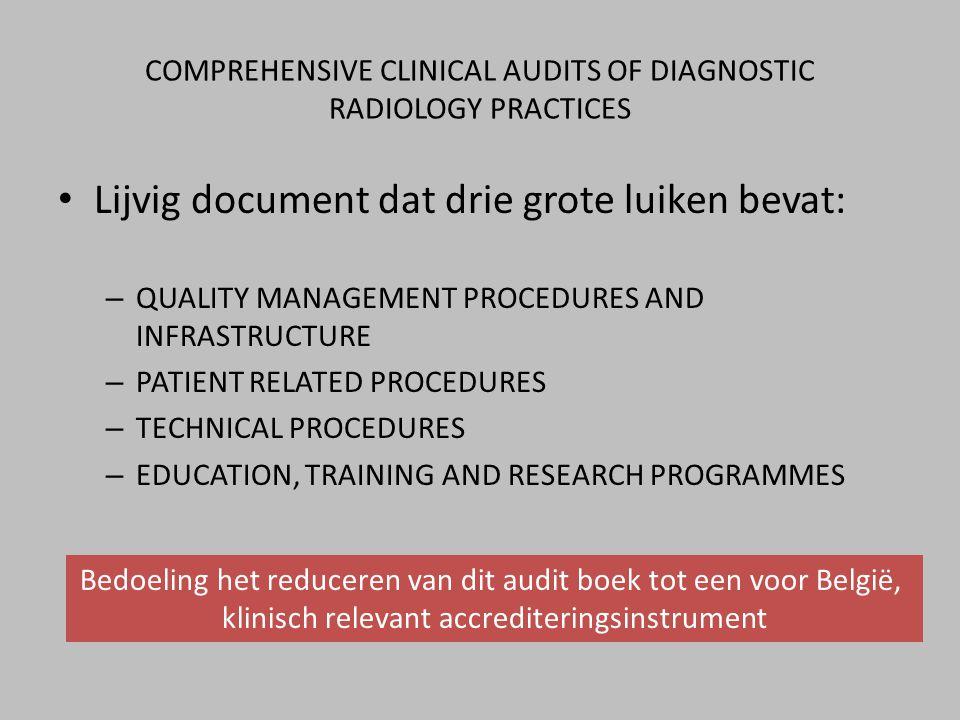 • Lijvig document dat drie grote luiken bevat: – QUALITY MANAGEMENT PROCEDURES AND INFRASTRUCTURE – PATIENT RELATED PROCEDURES – TECHNICAL PROCEDURES – EDUCATION, TRAINING AND RESEARCH PROGRAMMES Bedoeling het reduceren van dit audit boek tot een voor België, klinisch relevant accrediteringsinstrument COMPREHENSIVE CLINICAL AUDITS OF DIAGNOSTIC RADIOLOGY PRACTICES