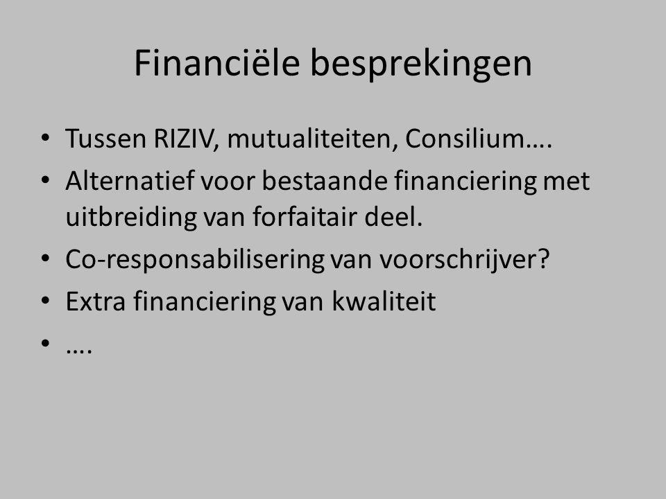 Financiële besprekingen • Tussen RIZIV, mutualiteiten, Consilium….