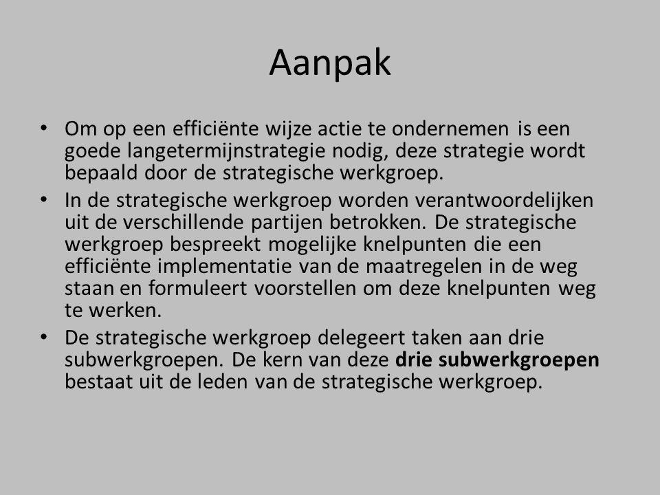 Aanpak • Om op een efficiënte wijze actie te ondernemen is een goede langetermijnstrategie nodig, deze strategie wordt bepaald door de strategische werkgroep.