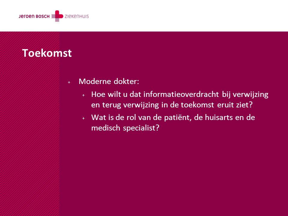 + Moderne dokter: + Hoe wilt u dat informatieoverdracht bij verwijzing en terug verwijzing in de toekomst eruit ziet? + Wat is de rol van de patiënt,