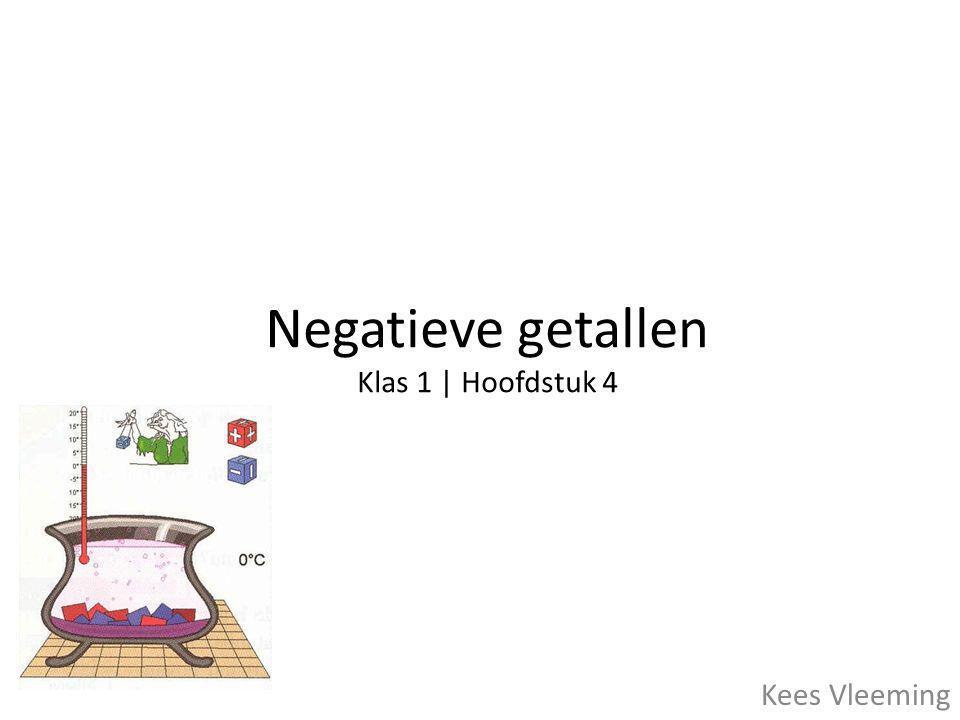 Positieve en negatieve getallen • Getallen boven de 0 heten positieve getallen (+) • Getallen onder de 0 heten negatieve getallen (-) • Het getal 0 is NIET positief en NIET negatief.