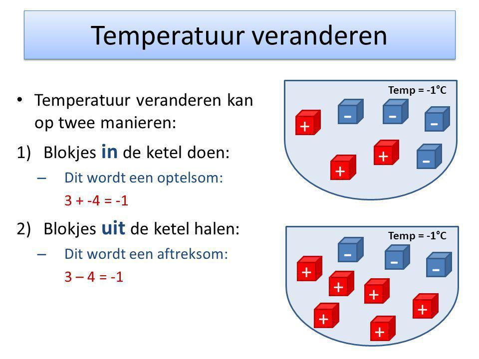Temperatuur veranderen • Temperatuur veranderen kan op twee manieren: 1)Blokjes in de ketel doen: – Dit wordt een optelsom: 3 + -4 = -1 2)Blokjes uit