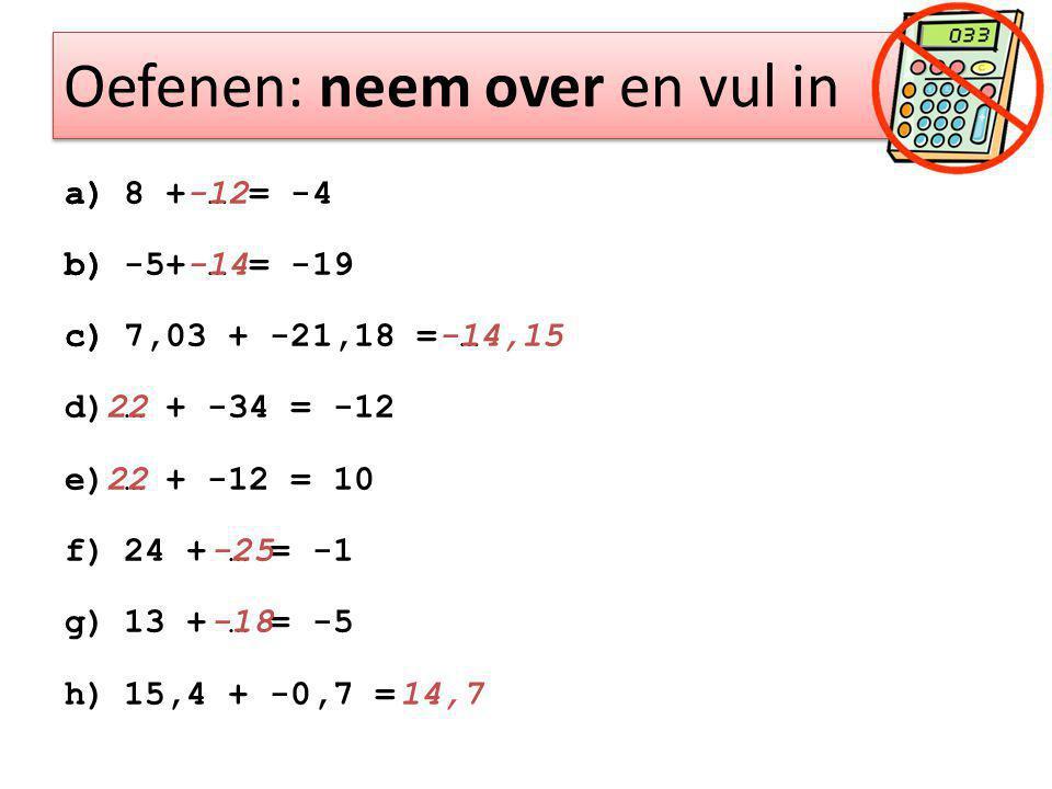 Oefenen: neem over en vul in a)8 + … = -4 b)-5+ … = -19 c)7,03 + -21,18 = … d)… + -34 = -12 e)… + -12 = 10 f)24 + … = -1 g)13 + … = -5 h)15,4 + -0,7 = a) -12 b) -14 c) -14,15 22 -25 -18 14,7