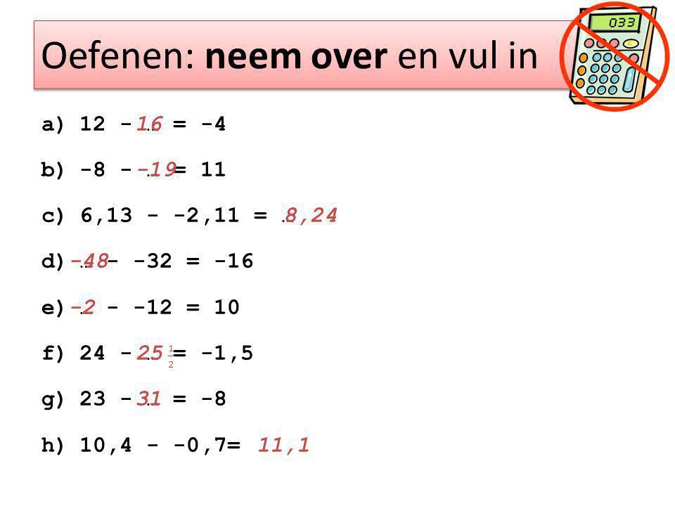 Oefenen: neem over en vul in a)12 - … = -4 b)-8 - … = 11 c)6,13 - -2,11 = … d)… - -32 = -16 e)… - -12 = 10 f)24 - … = -1,5 g)23 - … = -8 h)10,4 - -0,7=