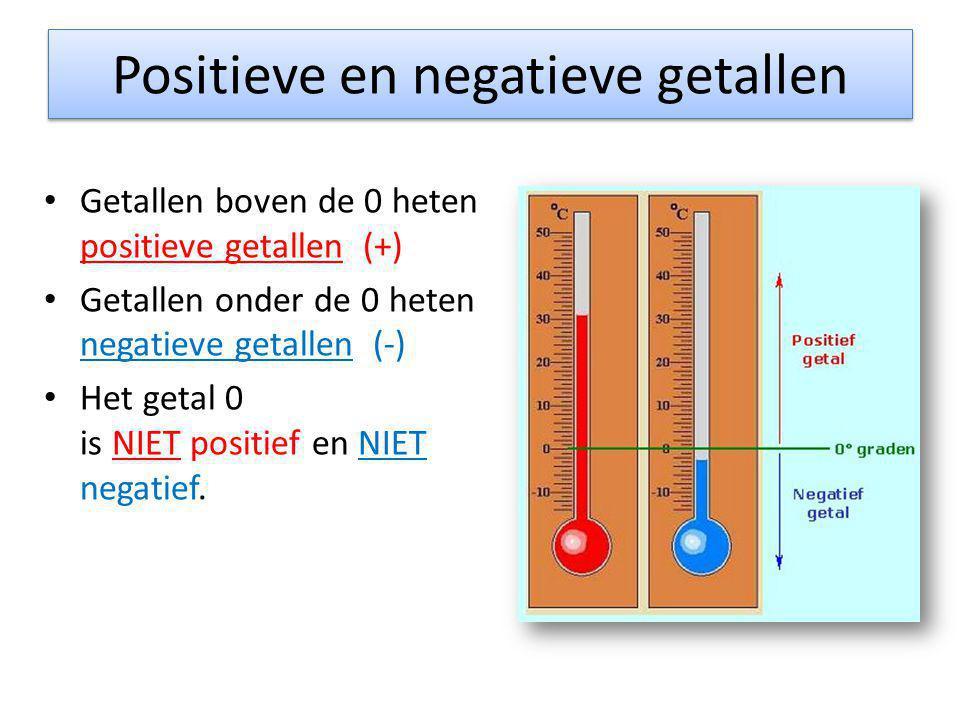 Positieve en negatieve getallen • Getallen boven de 0 heten positieve getallen (+) • Getallen onder de 0 heten negatieve getallen (-) • Het getal 0 is