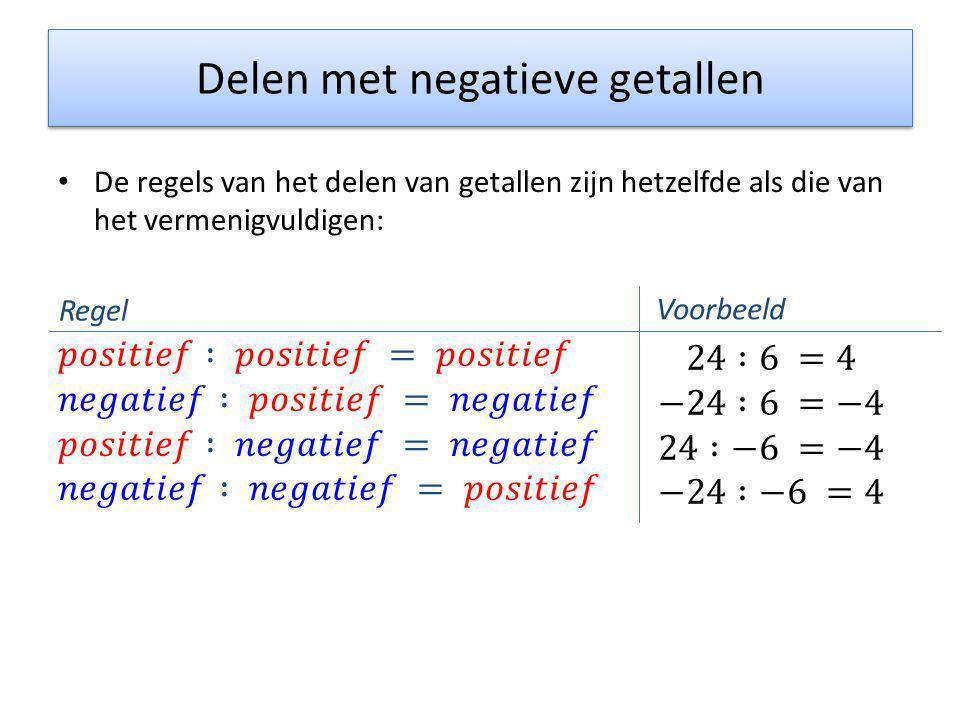 Delen met negatieve getallen Regel Voorbeeld